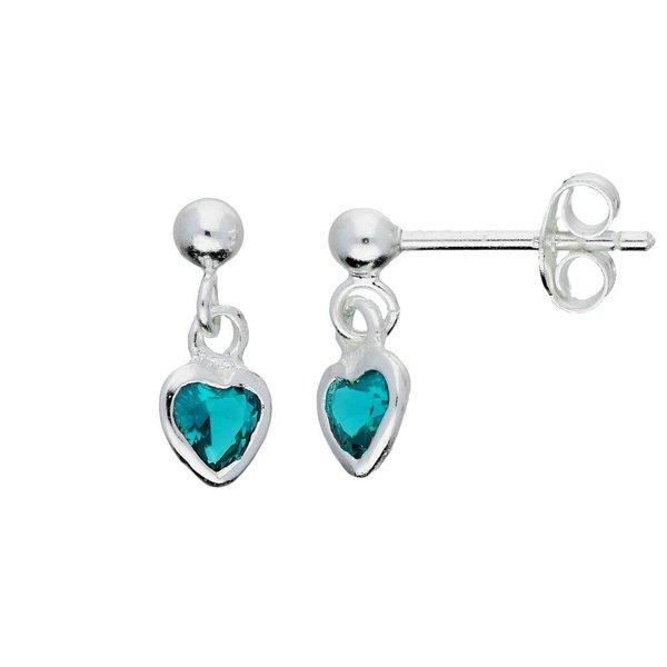 Zilveren kinderoorhangers - blauw zirkonia hart