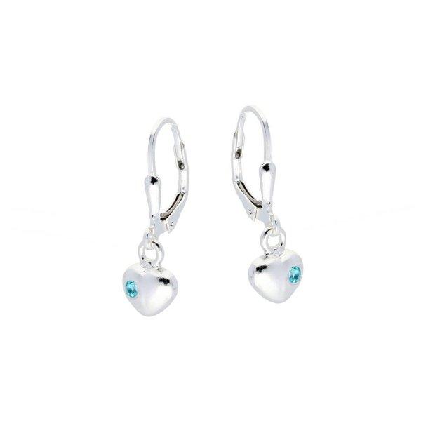 Zilveren kinderoorhangers - hart blauwe zirkonia