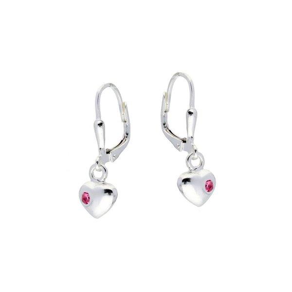 Zilveren kinderoorhangers - hart roze zirkonia