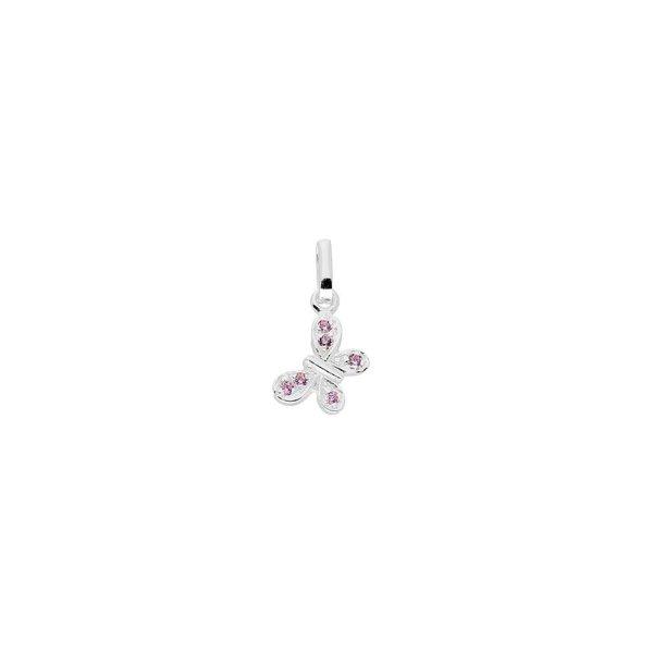 Zilveren kinderhanger - vlinder met roze zirkonia