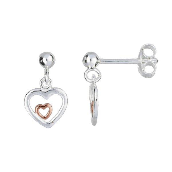 Zilveren oorhangers - rose-plated open hart