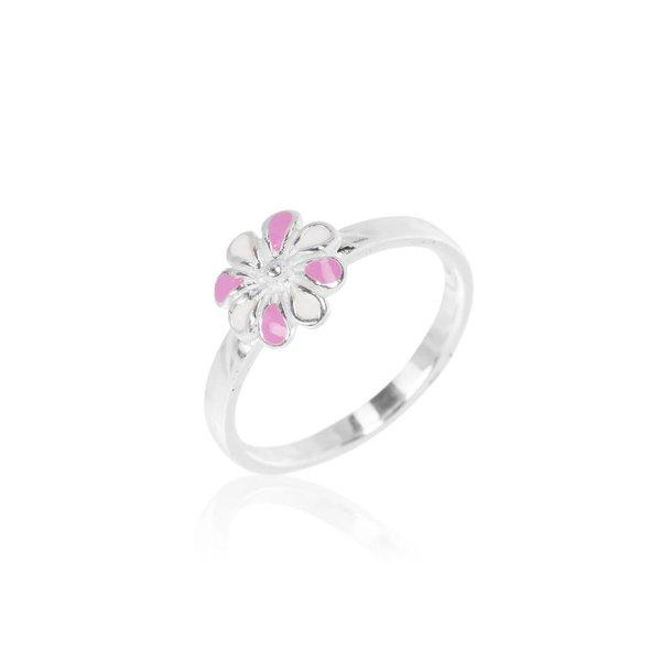 Zilveren kinderring - roze met witte bloem