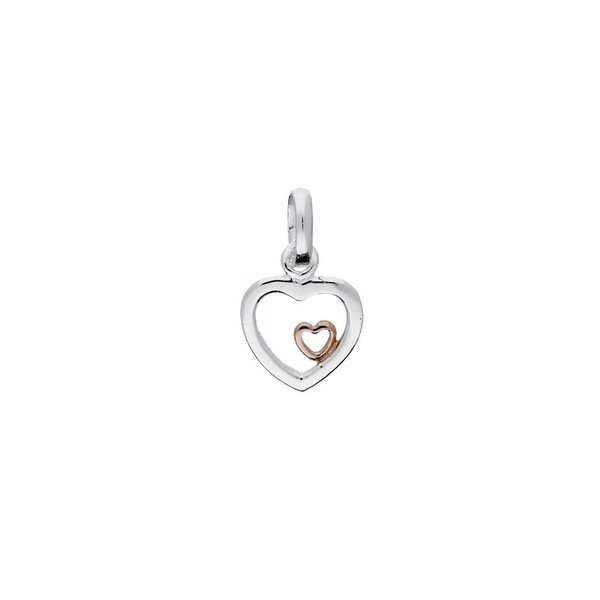 Zilveren kinderhanger - harten met rosé-plating