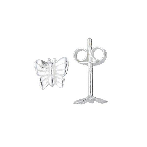 Zilveren kinderoorknopjes - vlinder