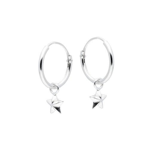 Zilveren draadcreolen met hanger - ster