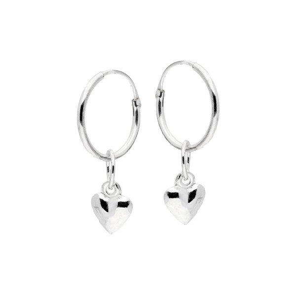 Zilveren draadcreolen met hanger - hart - 12 mm