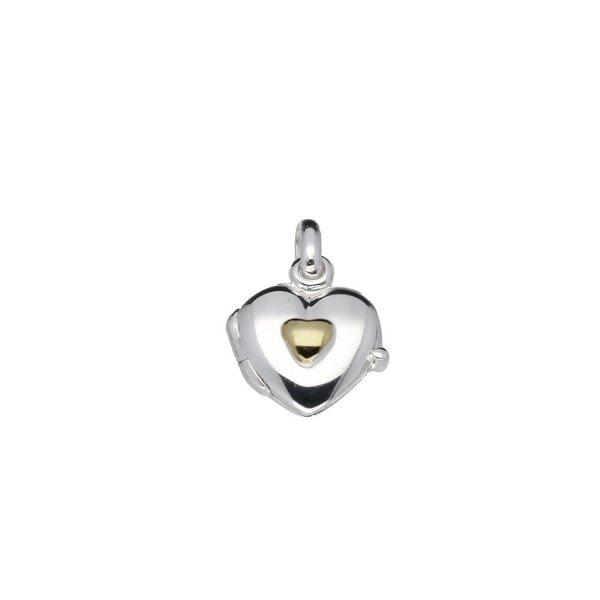 Zilveren medaillon - 11 mm - hart - geel hart