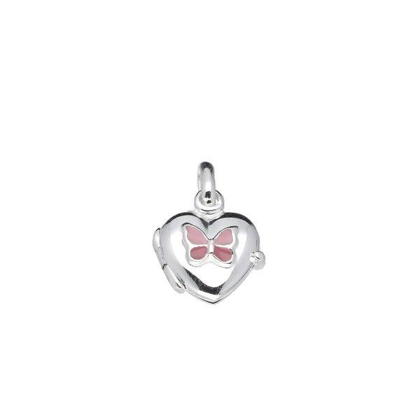 Zilveren medaillon - 11 mm - hart - roze vlinder