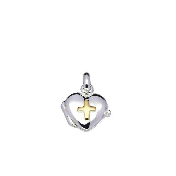 Zilveren medaillon - 11 mm - hart - goud kruis