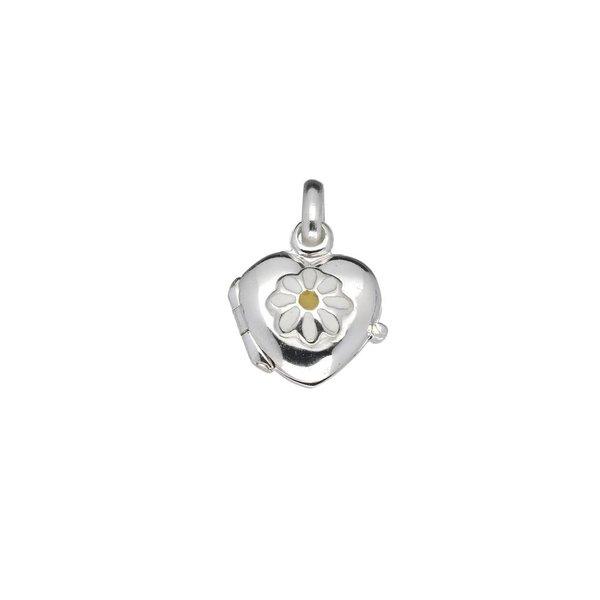 Zilveren medaillon - 11 mm - hart - madeliefje