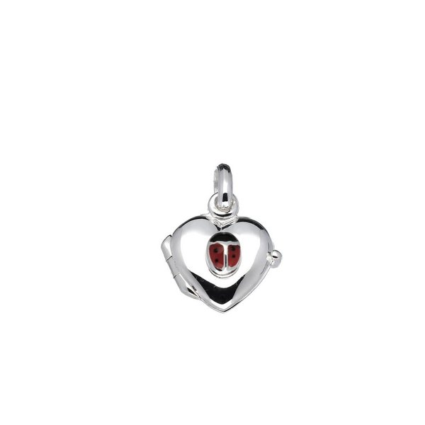 Zilveren medaillon - 11 mm - hart -lieveheersbeest