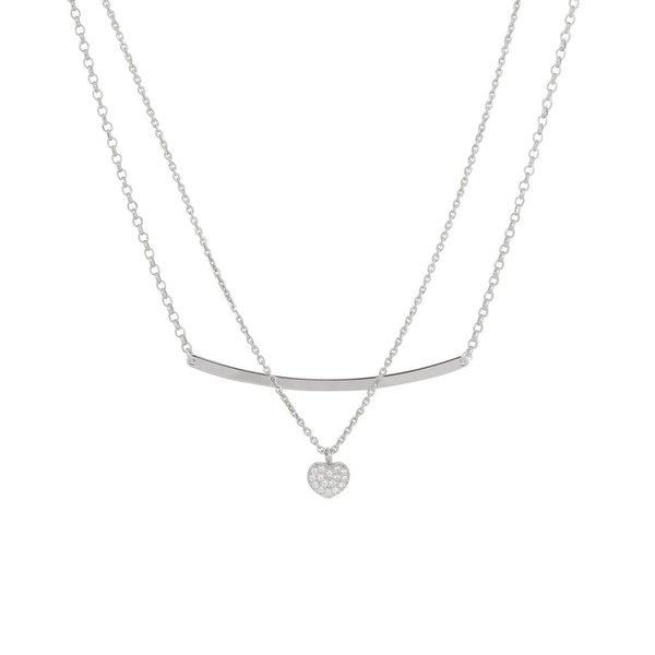 Zilveren multi-layercollier - hart met zirkonia