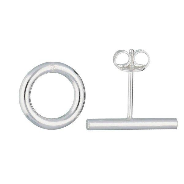 Zilveren symbooloorknopjes - rondje een een staaf