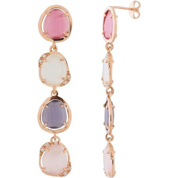 Zilveren rosé-plated oorhangers - zirkonia - roze