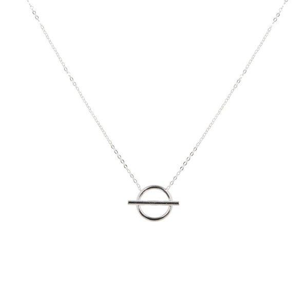 Zilveren symboolcollier - anker - rondje met staaf
