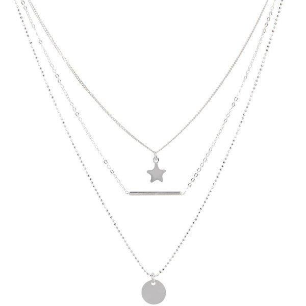 Zilveren multi-layercollier - ster, staaf, plaatje