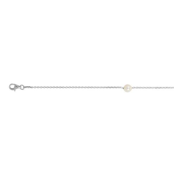 Zilveren swarovski-parelarmband - wit - 16+3 cm