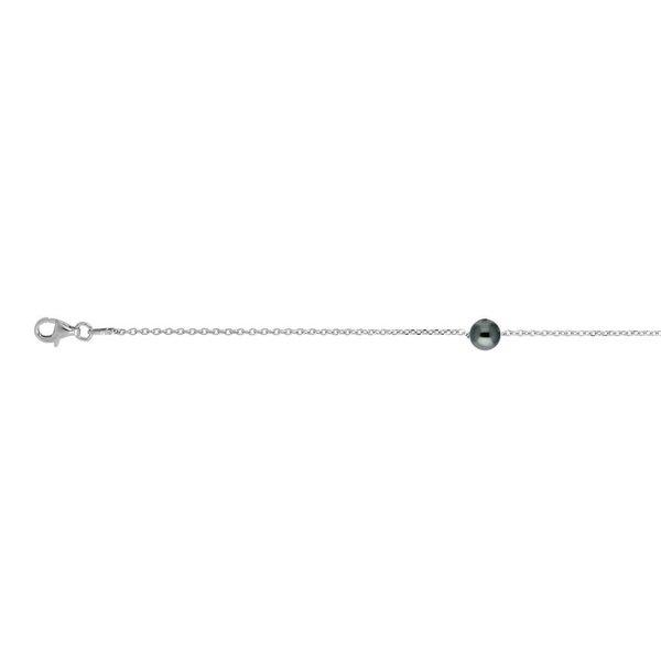 Zilveren swarovski-parelarmband - zwart - 16+3 cm