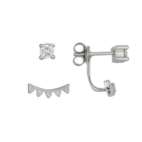 Zilveren gerodineerde earjackets - driehoekjes