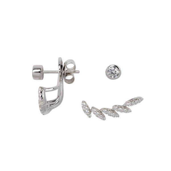 Zilveren gerodineerde earjackets - waaier