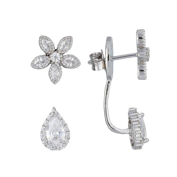 Zilveren gerodineerde earjackets - bloem