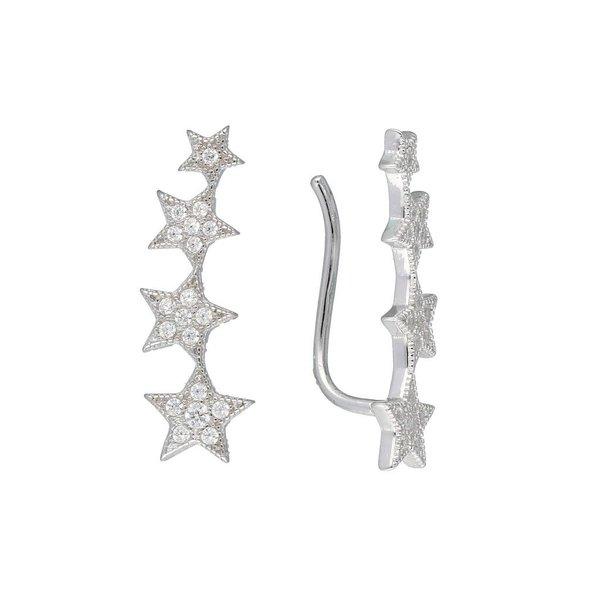 Zilveren gerodineerde earcuffs - sterren