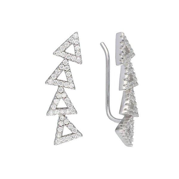 Zilveren gerodineerde earcuffs - driehoeken