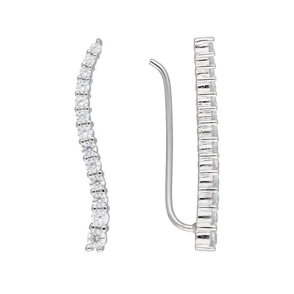 Zilveren gerodineerde earcuffs - golf