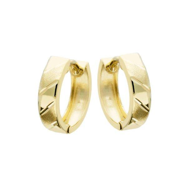 Gouden klapcreolen - mat glanzend  - 13 mm