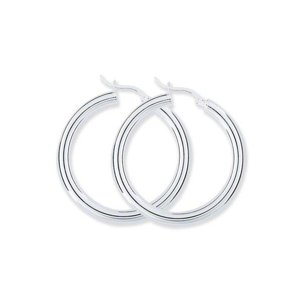 Zilveren buiscreolen - 4 x 40 mm - ronde buis