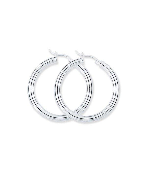 Best basics Zilveren buiscreolen - 4 x 40 mm - ronde buis -