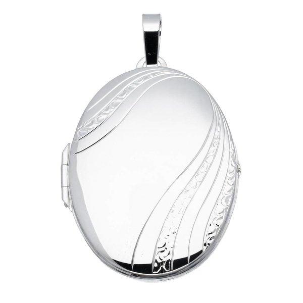 Zilveren medaillon - ovaal - mat glanzend