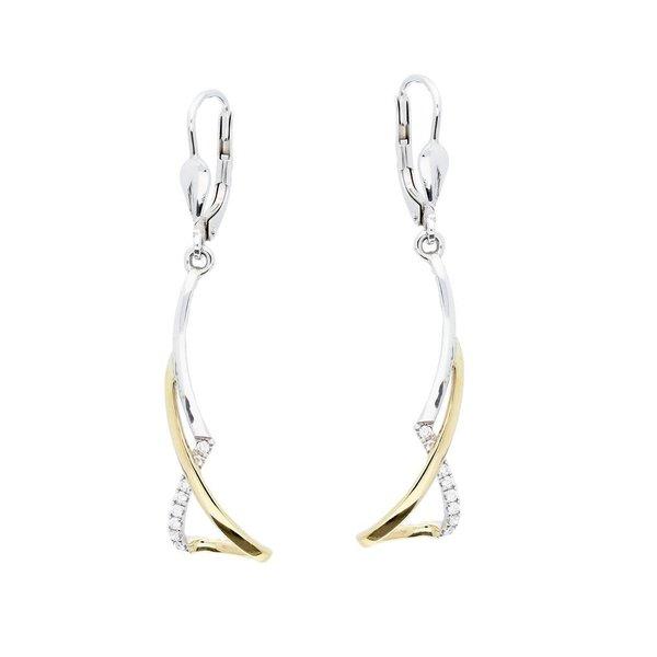 Gouden oorhangers - bicolor - diamant