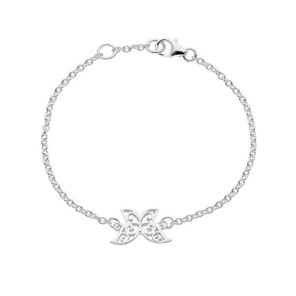 Zilveren symboolarmband - opengewerkte vlinder