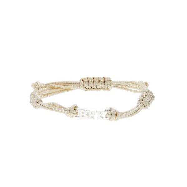 Zilveren katoenen armband - zilveren bff
