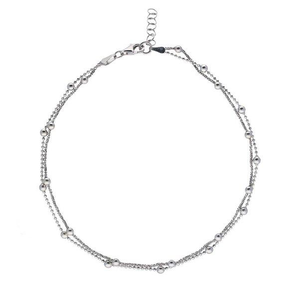 Zilveren enkelband  2 strengen met bolletjes