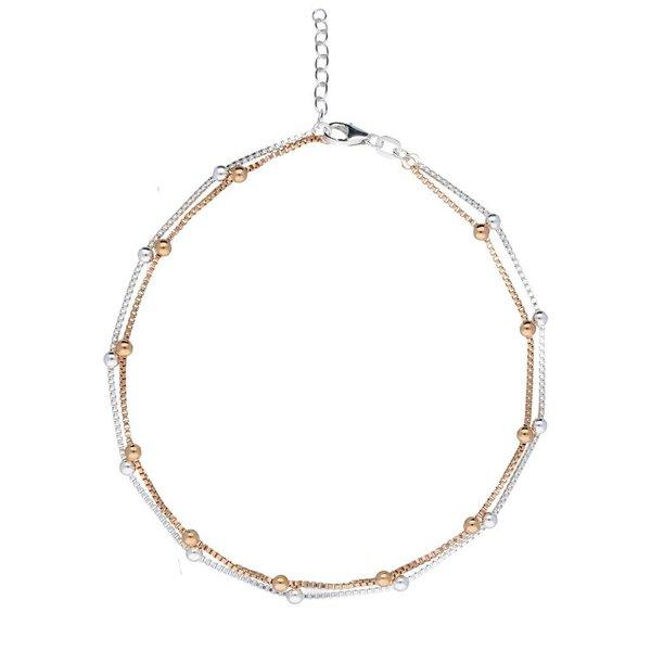 Zilveren enkelband met 2 strengen - rosé en zilver