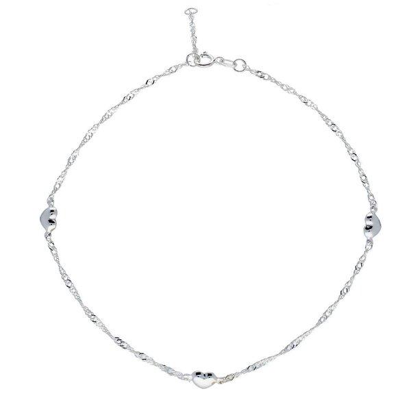 Zilveren enkelband -  singapore - hartjes