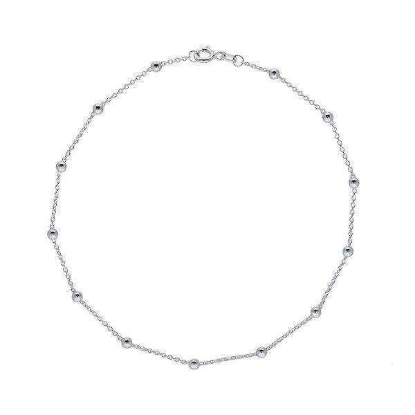Zilveren enkelband -  anker - bolletjes