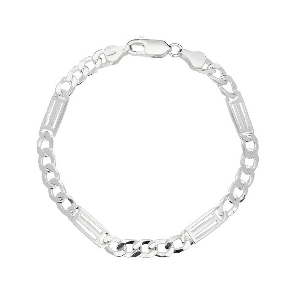 Zilveren schakelarmband - gourmet - 6 mm - 19cm