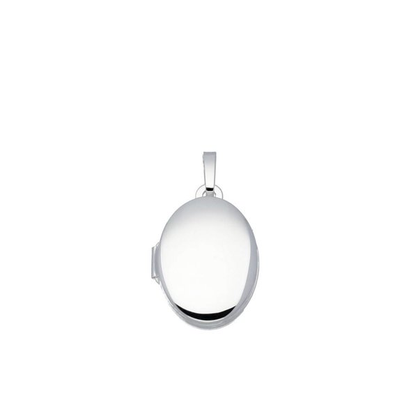 Zilveren medaillon - ovaal - glad - 12x17 mm