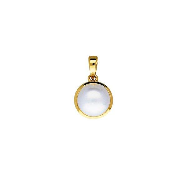 Gouden hanger - zoetwaterparel - button