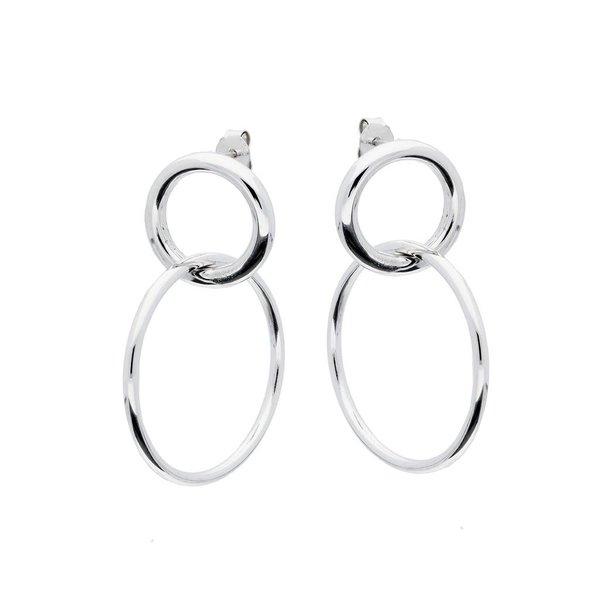 Zilveren oorhangers - 2 cirkels