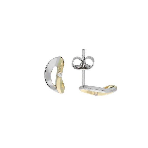 Gouden oorknoppen - bicolor - diamant - 2-0.02ct