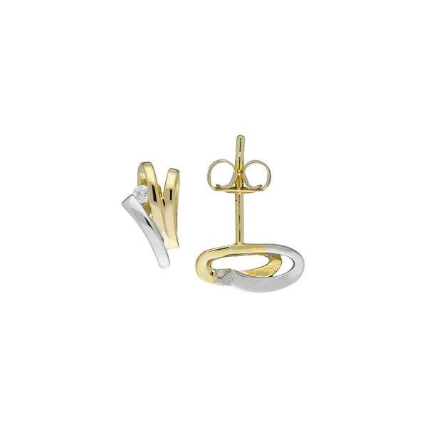 Gouden oorknoppen - bicolor - diamant - 2-0.04ct