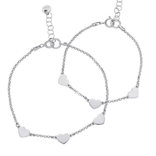 Zilveren armbandenset - 3 hartjes - moeder en kind