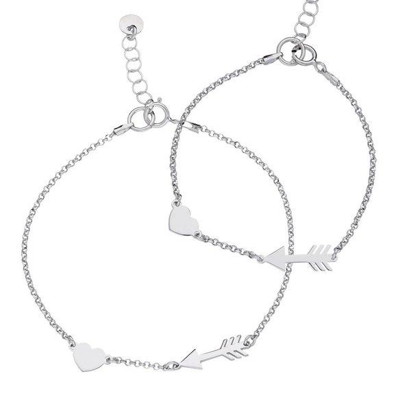 Zilveren armbandenset - hart en pijl