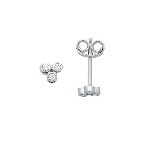 Zilveren oorknoppen - zirkonia - gerodineerd
