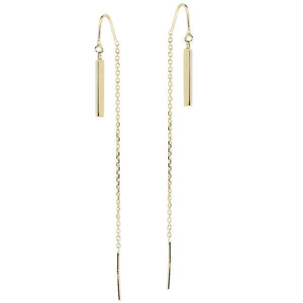 Gouden oorhangers - vierkante buis