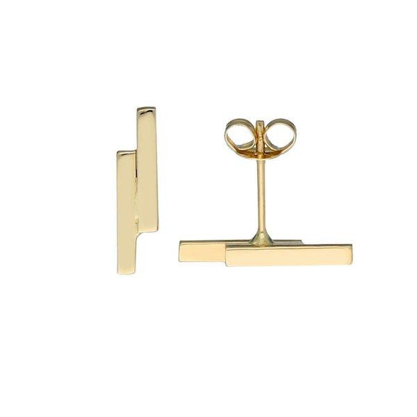 Gouden oorknoppen - dubbele balk